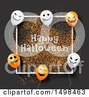 Happy Halloween Greeting With Party Balloons On Gray With Glitter