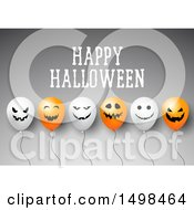Happy Halloween Greeting With Party Balloons On Gray