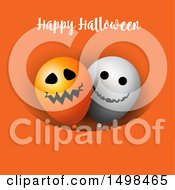 Happy Halloween Greeting With Party Balloons On Orange