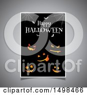 Clipart Of A Happy Halloween Greeting Sign With Jackolantern Pumpkins Bats And Webs Royalty Free Vector Illustration