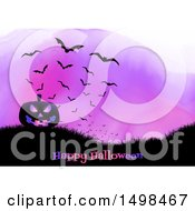 Happy Halloween Greeting With A Jackolantern Pumpkin On A Hill With Bats Over Purple Watercolor