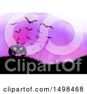 Clipart Of A Halloween Jackolantern Pumpkin On A Hill With Bats Over Purple Watercolor Royalty Free Vector Illustration