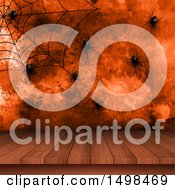 Halloween Background With Spiders A Web And Wood Surface