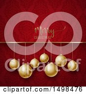 Merry Christmas Greeting Over Golden Baubles On Red Damask