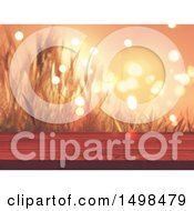 Clipart Of A 3d Wood Surface Against A Sunset With Wheat And Flares Royalty Free Illustration by KJ Pargeter