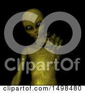Clipart Of A 3d Alien Pointing Royalty Free Illustration