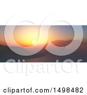 Clipart Of A 3d Sunset Landscape Of An Eagle Over A Bay Royalty Free Illustration