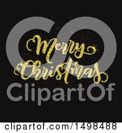 Gold Glitter Merry Christmas Greeting On Black