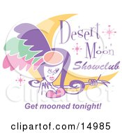 Pretty Showgirl And A Moon On A Desert Moon Showclub Sign Clipart Illustration by Andy Nortnik
