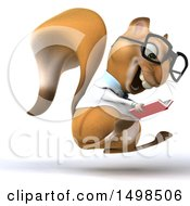 Poster, Art Print Of 3d Doctor Or Veterinarian Squirrel Reading On A White Background