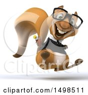 Clipart Of A 3d Business Squirrel Holding A Beverage On A White Background Royalty Free Illustration