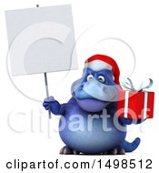 3d Blue Christmas T Rex Dinosaur Holding A Present On A White Background