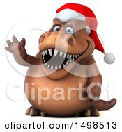 3d Brown Christmas T Rex Dinosaur Waving On A White Background