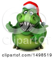 3d Green Christmas T Rex Dinosaur Holding Up A Middle Finger On A White Background