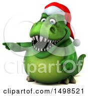 3d Green Christmas T Rex Dinosaur Pointing On A White Background