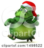 3d Green Christmas T Rex Dinosaur On A White Background