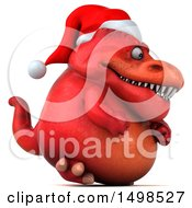 3d Red Christmas T Rex Dinosaur On A White Background