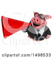 3d Chubby Business Pig Using A Megaphone On A White Background