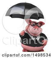 3d Chubby Business Pig Holding An Umbrella On A White Background
