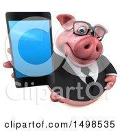 3d Chubby Business Pig Holding Up A Smart Phone On A White Background