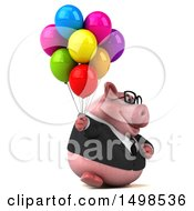 3d Chubby Business Pig With Balloons On A White Background