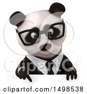 3d Business Panda On A White Background