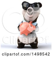 3d Doctor Or Veterinarian Panda Holding A Piggy Bank On A White Background