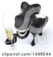 3d Black Horse With Champagne On A White Background