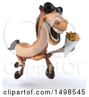 3d Brown Horse Holding Fries On A White Background