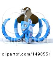 3d Blue Pirate Octopus On A White Background
