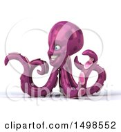 3d Purple Octopus On A White Background