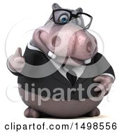 3d Business Hippo Giving A Thumb Up On A White Background