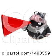 3d Business Hippo Using A Megaphone On A White Background