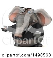 3d Business Elephant Presenting On A White Background