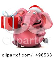 Clipart Of A 3d Pink Christmas Elephant Holding A Gift On A White Background Royalty Free Illustration by Julos