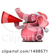 October 15th, 2017: Clipart Of A 3d Pink Christmas Elephant Using A Megaphone On A White Background Royalty Free Illustration by Julos