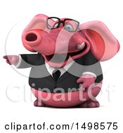 3d Pink Business Elephant Pointing On A White Background
