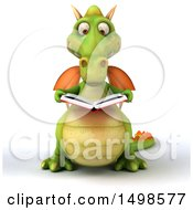 October 15th, 2017: Clipart Of A 3d Green Dragon Reading A Book On A White Background Royalty Free Illustration by Julos