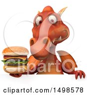 October 15th, 2017: Clipart Of A 3d Red Dragon Holding A Burger On A White Background Royalty Free Illustration by Julos