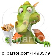 October 15th, 2017: Clipart Of A 3d Green Dragon Holding Fries On A White Background Royalty Free Illustration by Julos