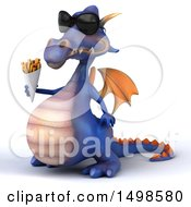October 15th, 2017: Clipart Of A 3d Purple Dragon Holding French Fries On A White Background Royalty Free Illustration by Julos
