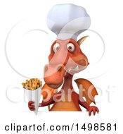 October 15th, 2017: Clipart Of A 3d Red Dragon Holding French Fries On A White Background Royalty Free Illustration by Julos