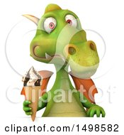 October 15th, 2017: Clipart Of A 3d Green Dragon Holding An Ice Cream Cone On A White Background Royalty Free Illustration by Julos