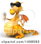 October 15th, 2017: Clipart Of A 3d Yellow Dragon Holding An Ice Cream Cone On A White Background Royalty Free Illustration by Julos