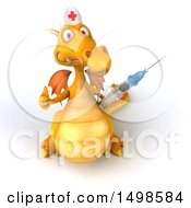October 15th, 2017: Clipart Of A 3d Yellow Dragon Nurse Holding A Syringe On A White Background Royalty Free Illustration by Julos