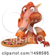 October 15th, 2017: Clipart Of A 3d Red Dragon Holding A Pizza On A White Background Royalty Free Illustration by Julos
