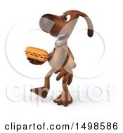 3d Brown Chocolate Lab Dog Holding A Hot Dog On A White Background