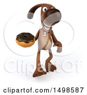 3d Brown Chocolate Lab Dog Holding A Donut On A White Background