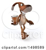 October 15th, 2017: Clipart Of A 3d Brown Chocolate Lab Dog Holding A Beer On A White Background Royalty Free Illustration by Julos