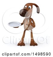 3d Brown Chocolate Lab Dog Holding A Plate On A White Background